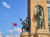 The Republic Monument. Taksim Square, Beyoglu district. Istanbul. The Republic Monument to commemorate the formation of the Turkish Republic at Taksim Square stock photo