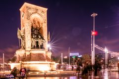 Republic Monument on Taksim square in Istanbul stock image