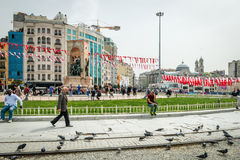 Republic Monument at Taksim Square in Istanbul, Turkey Stock Image
