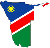 Republic of Namibia. Territory of Namibia filled with the national flag Stock Photos