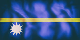 Republic of Nauru flag. 3d rendering of  an old Republic of Nauru flag waving Stock Image