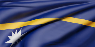 Republic of Nauru flag. 3d rendering of  Republic of Nauru flag waving Royalty Free Stock Images