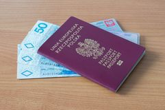 Republic of Poland biometric passport, driver licence, ID and Polish money.  Royalty Free Stock Photo