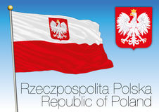 Republic of Poland, civil flag and coat of arms Stock Photography