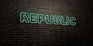 REPUBLIC -Realistic Neon Sign on Brick Wall background - 3D rendered royalty free stock image. Can be used for online banner ads and direct mailers Stock Illustration