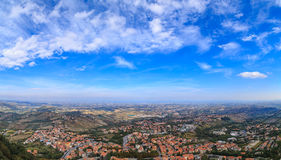 Republic of San Marino and Italy from Monte Titano. Panorama of Republic of San Marino and Italy from Monte Titano, City of San Marino. City of San Marino is Royalty Free Stock Photos
