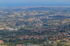 Republic of San Marino and Italy from Monte Titano. Panorama of Republic of San Marino and Italy from Monte Titano, City of San Marino. City of San Marino is Stock Photo