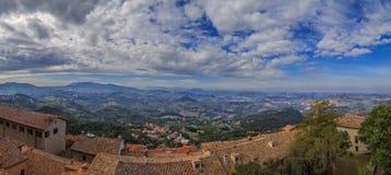 Republic of San Marino and Italy, panorama. Panorama of Republic of San Marino and Italy from Monte Titano, City of San Marino. City of San Marino is capital Stock Image