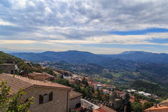 Republic of San Marino and Italy, summer day. Panorama of Republic of San Marino and Italy from Monte Titano, City of San Marino. City of San Marino is capital Stock Photo