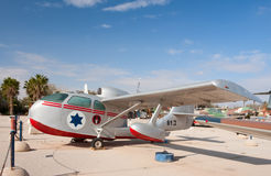 Republic Seabee. HATZERIM, ISRAEL - JANUARY 02: Republic Seabee retro seaplane with IAF markings is displayed in Israeli Air Force Museum on January 02, 2012 in Royalty Free Stock Images