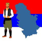 Republic of Serbia map isolated on Serbian flag background. Serbia wears, Balkan folklore culture. Republic of Serbia map isolated on Serbian flag background vector illustration