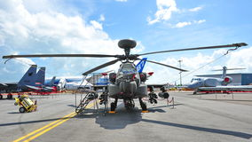 Republic of Singapore Airforce (RSAF) Apache AH-64 attack helicopter on display at Singapore Airshow 2012 Stock Photography