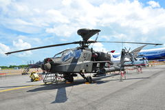 Republic of Singapore Airforce (RSAF) Apache AH-64 attack helicopter on display at Singapore Airshow  2012 Stock Photos