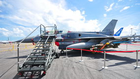 Republic of Singapore Airforce (RSAF) F-16 on display at Singapore Airshow 2012 Stock Photo
