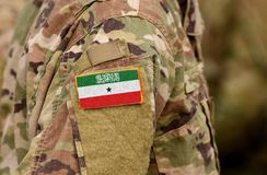 Republic of Somaliland flag on soldiers arm. Somaliland army c. Ollage royalty free stock photo