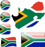 Republic of South Africa. Map, flag and buttons -  illustration Royalty Free Stock Photo