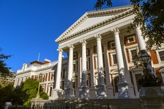 Cape Town, South Africa. Republic of South Africa. Cape Town Kaapstad. Facade of parliament building in a Neoclassical design, Cape Dutch architecture stock images