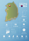 Republic of South Korea map and travel Infographic Royalty Free Stock Photos