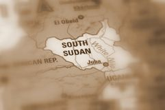Republic of South Sudan. South Sudan, officially known as the Republic of South Sudan sepia selective focus stock photo