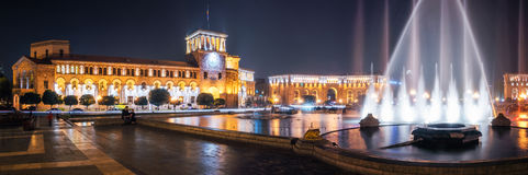 Republic Square with dancing fountains in Yerevan, Armenia. Stock Photos