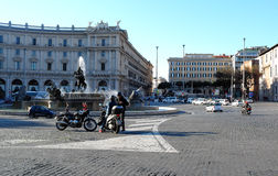 Republic Square in Rome. View of the Republic Square and the fountain in Rome Royalty Free Stock Images