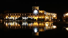 The Republic Square, singing fountains royalty free stock photo