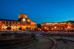 Republic square in Yerevan, Armenia at night Royalty Free Stock Photography