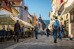 Republic street ( Strada Republicii ) in Brasov, Romania royalty free stock photo