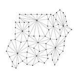 Republic of Sudan map of polygonal mosaic lines network, rays, dots  illustration. Republic of Sudan map of polygonal mosaic lines network, rays and dots Royalty Free Stock Photos