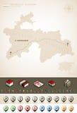 Republic of Tajikistan. Tajikistan and Asia maps, plus extra set of isometric icons & cartography symbols set (part of the World Maps Set Royalty Free Stock Photos