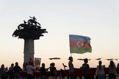 Republic tree and Azerbaijan flag. Stock Photography