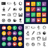 Republic Of Turkey All in One Icons Black & White Color Flat Design Freehand Set Royalty Free Stock Photo