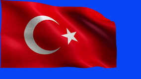 Republic of Turkey, Flag of Turkey, Turkish Flag - LOOP. Beautiful 3d flag animation on green/blue screen in 4k format - seamless looped stock footage