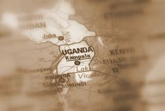 Republic of Uganda. Uganda, officially the Republic of Uganda  sepia selective focus Royalty Free Stock Photos