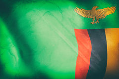 Republic of Zambia flag waving Royalty Free Stock Image