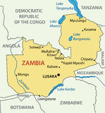Republic of Zambia - map - vector Royalty Free Stock Photo