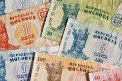 Republica Moldova currency. Republica Moldova - banknotes of 5, 10, 20, 50 and 100 lei Royalty Free Stock Image
