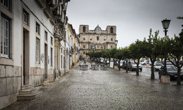 Republica square in Vila Viçosa town on a rainy day, Évora. Portugal Stock Image