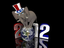 Republican Balance - 2012. Political Elephant balancing on a segmented Earth. Isolated on a black background Stock Illustration