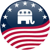 Republican Button - Waving Flag stock illustration