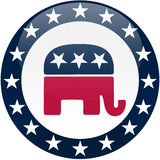 Republican Button - White and Blue Stock Photos