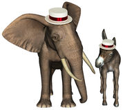 Republican democrat Elephant Donkey Isolated Royalty Free Stock Photography