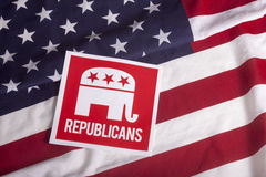Republican Election Vote and American Flag. Republican election on textured American flag Stock Photo