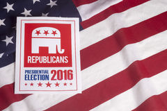 Republican Election Vote and American Flag. Republican election on textured American flag Stock Photography