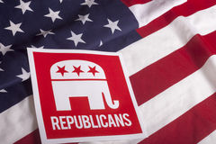 Republican Election Vote and American Flag. Republican election on textured American flag Royalty Free Stock Photography
