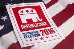 Republican Election Vote and American Flag. Republican election on textured American flag Stock Images