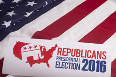 Republican Election Vote and American Flag. Republican election on textured American flag Stock Image