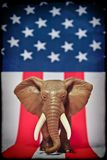 Republican Elephant. On USA  flag Royalty Free Stock Photography