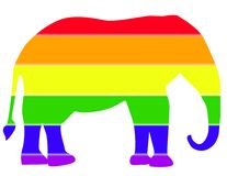 Republican Elephant. Rainbow colored gay pride republican elephant Stock Photo