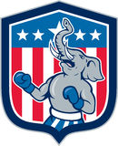 Republican Elephant Boxer Mascot Shield Cartoon Stock Image